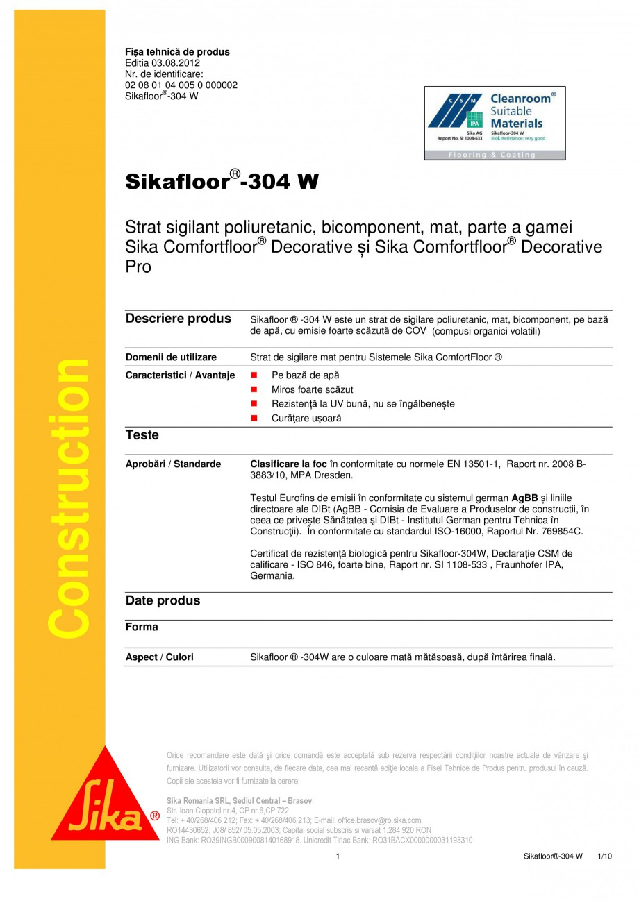 Pagina 1 - Strat sigilant poliuretanic SIKA Sikafloor®-304 W Fisa tehnica Romana Fișa tehnică ...