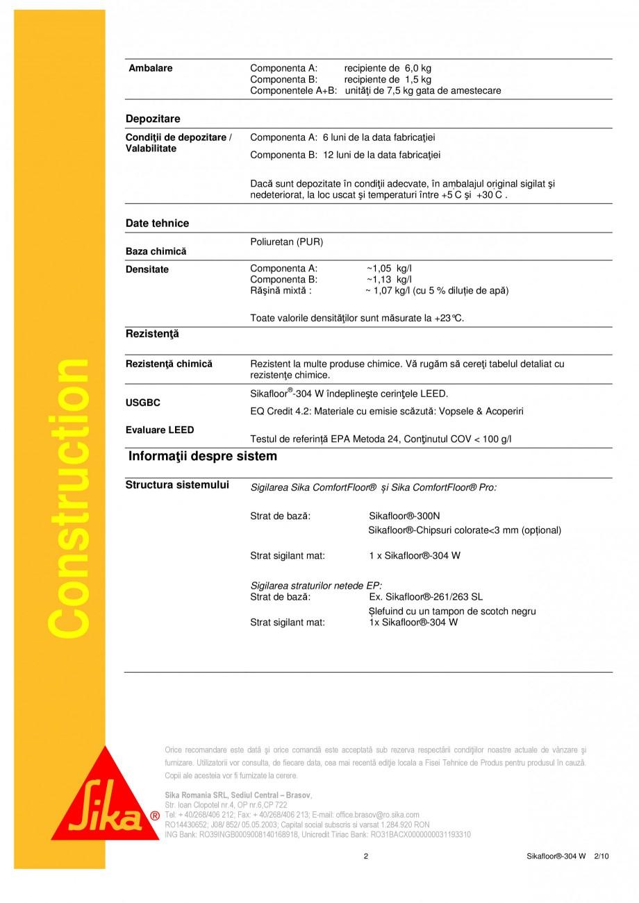 Pagina 2 - Strat sigilant poliuretanic SIKA Sikafloor®-304 W Fisa tehnica Romana utul German...
