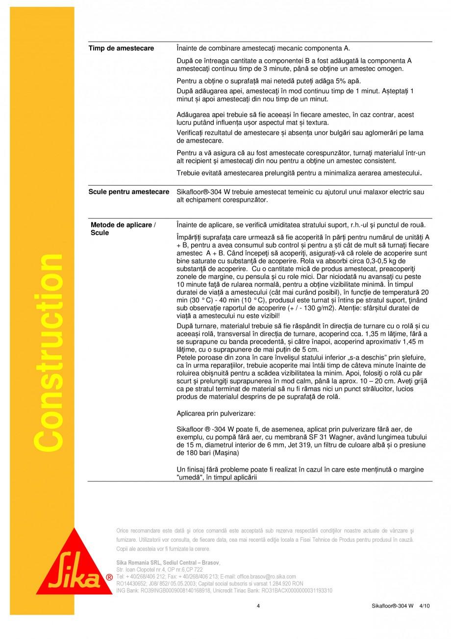 Pagina 4 - Strat sigilant poliuretanic SIKA Sikafloor®-304 W Fisa tehnica Romana eriri  Evaluare...