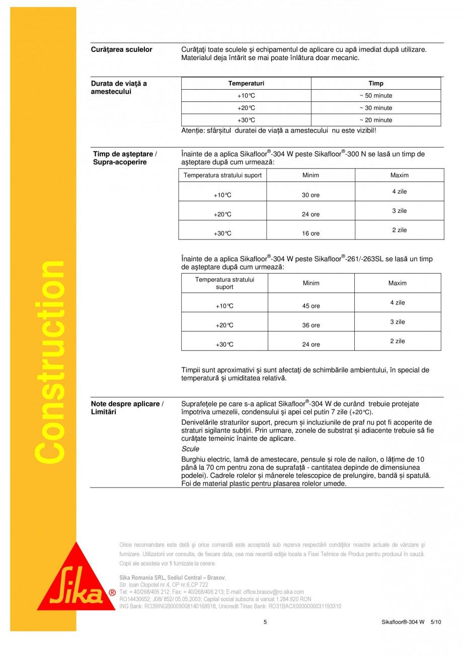 Pagina 5 - Strat sigilant poliuretanic SIKA Sikafloor®-304 W Fisa tehnica Romana l social...