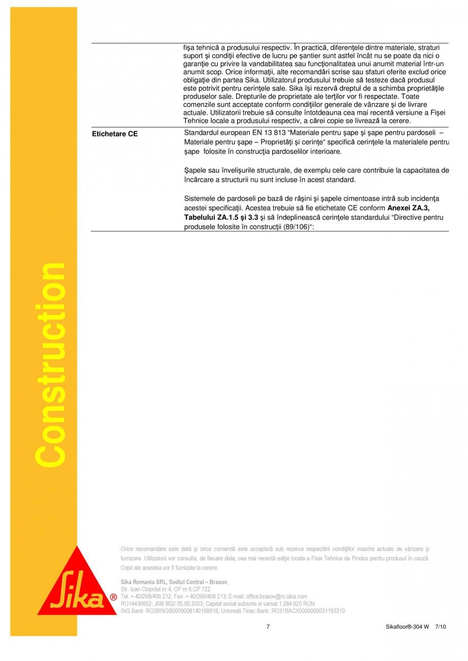 Pagina 7 - Strat sigilant poliuretanic SIKA Sikafloor®-304 W Fisa tehnica Romana eratura...