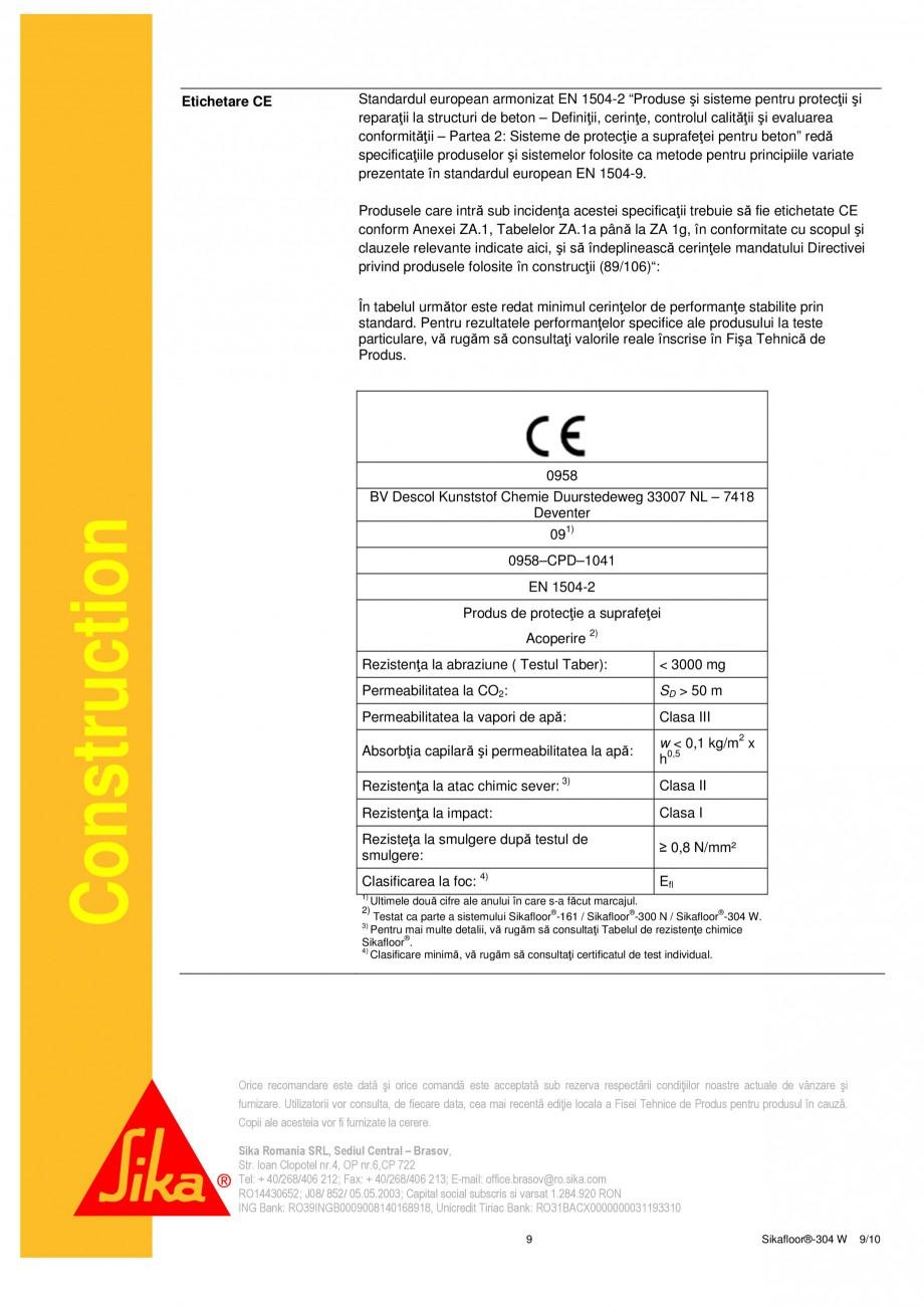 Pagina 9 - Strat sigilant poliuretanic SIKA Sikafloor®-304 W Fisa tehnica Romana r®-304 W...