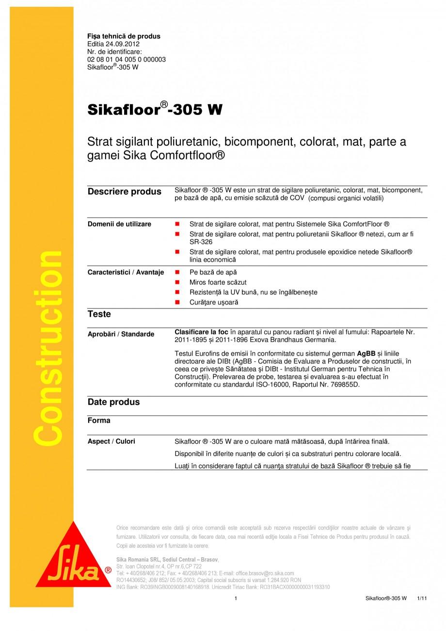Pagina 1 - Strat sigilant poliuretanic SIKA Sikafloor®-305 W Fisa tehnica Romana Fișa tehnică ...