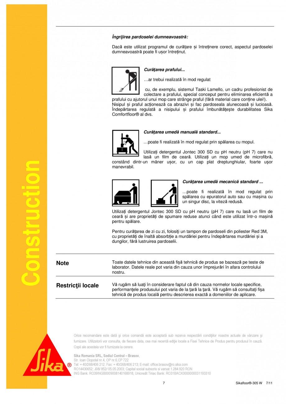 Pagina 7 - Strat sigilant poliuretanic SIKA Sikafloor®-305 W Fisa tehnica Romana ite cu un...