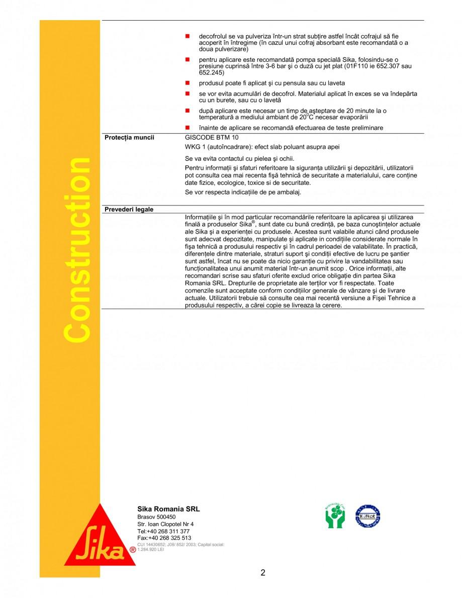 Pagina 2 - Decofrol universal pe baza de uleiuri sintetice si grasimi naturale SIKA Sika® TR6...
