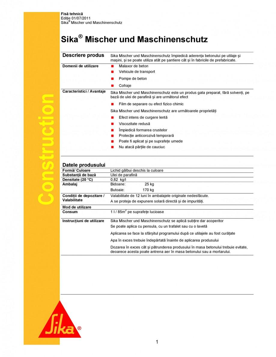 Pagina 1 - Substanta de protectie elemente metalice SIKA Sika® Mischer Maschienenschutz Fisa...