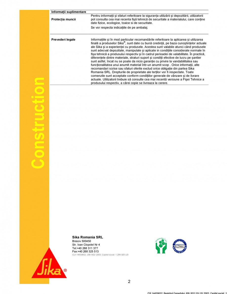Pagina 2 - Substanta de protectie elemente metalice SIKA Sika® Mischer Maschienenschutz Fisa...