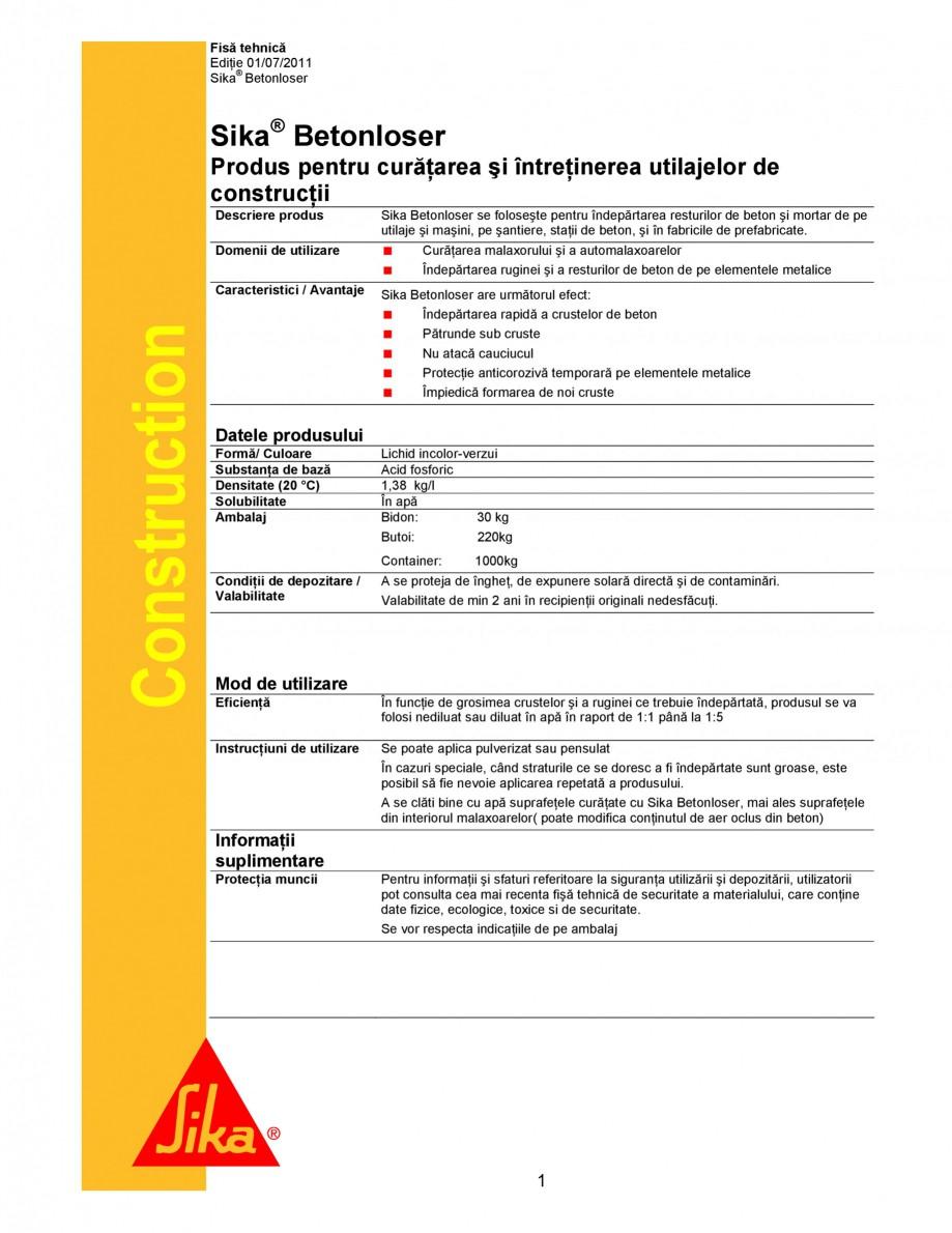 Pagina 1 - Produs pentru curatarea si intretinerea utilajelor de constructii SIKA Sika®...