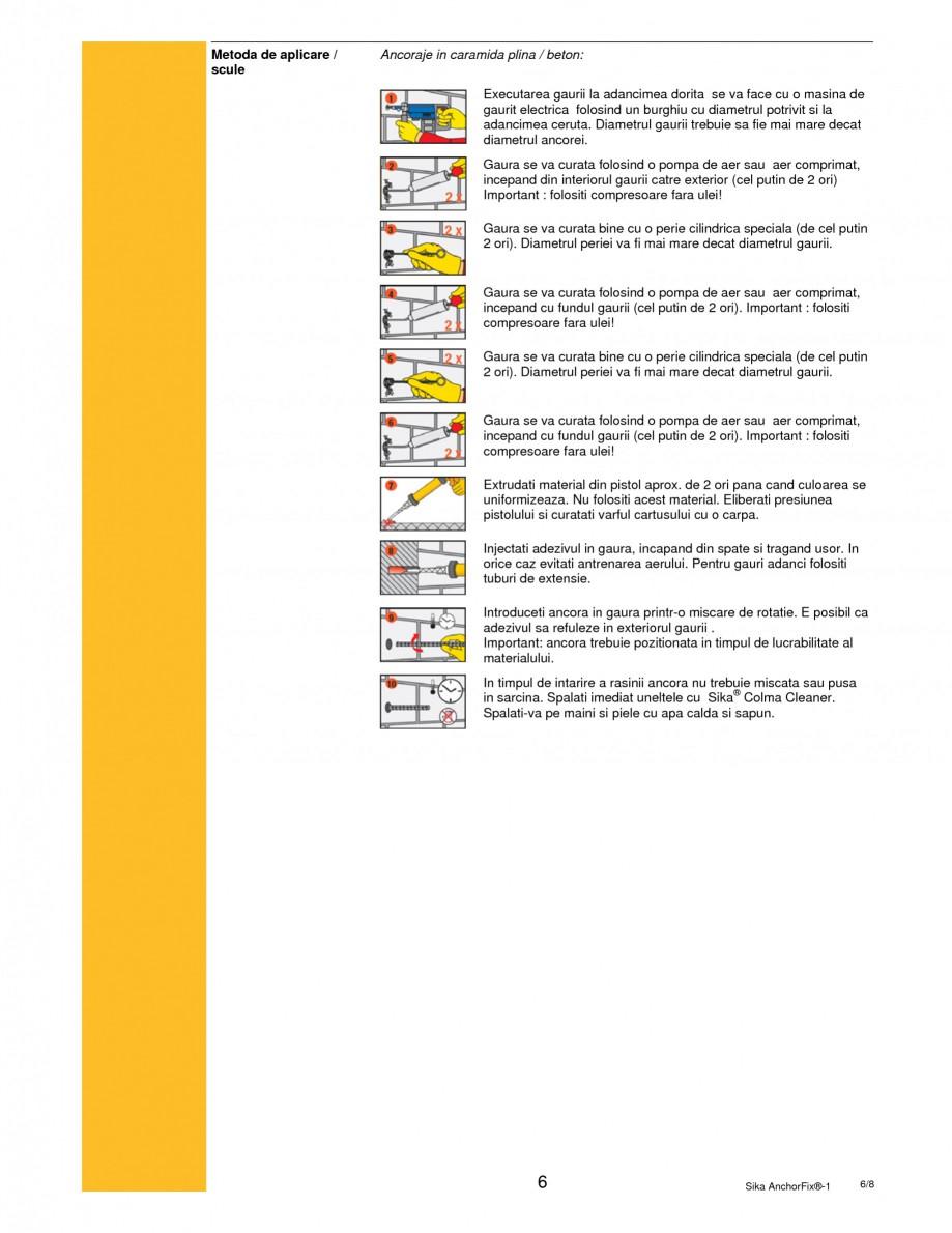Pagina 6 - Adeziv pentru ancorari cu intarire rapida SIKA Sika AnchorFix®-1 Fisa tehnica Romana ...