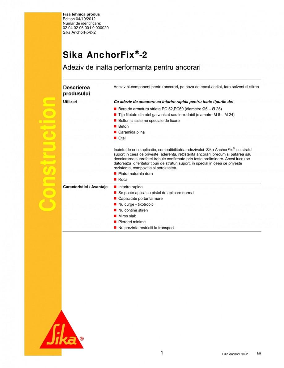 Pagina 1 - Adeziv de inalta performanta pentru ancorari SIKA Sika AnchorFix®-2 Fisa tehnica...