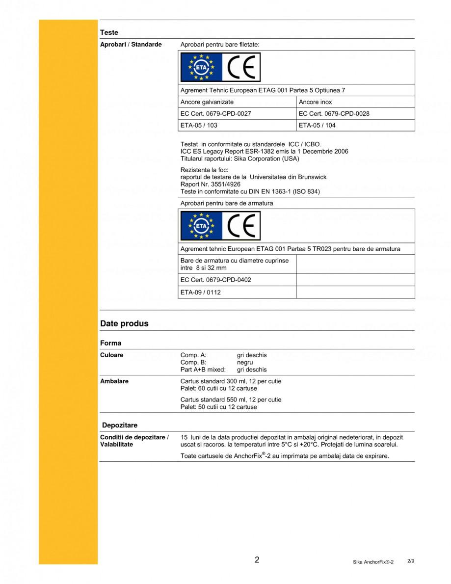 Pagina 2 - Adeziv de inalta performanta pentru ancorari SIKA Sika AnchorFix®-2 Fisa tehnica...