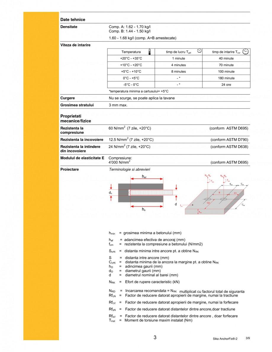 Pagina 3 - Adeziv de inalta performanta pentru ancorari SIKA Sika AnchorFix®-2 Fisa tehnica...