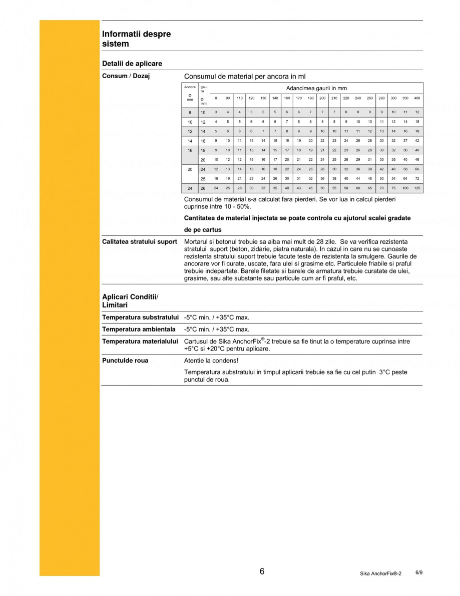 Pagina 6 - Adeziv de inalta performanta pentru ancorari SIKA Sika AnchorFix®-2 Fisa tehnica...