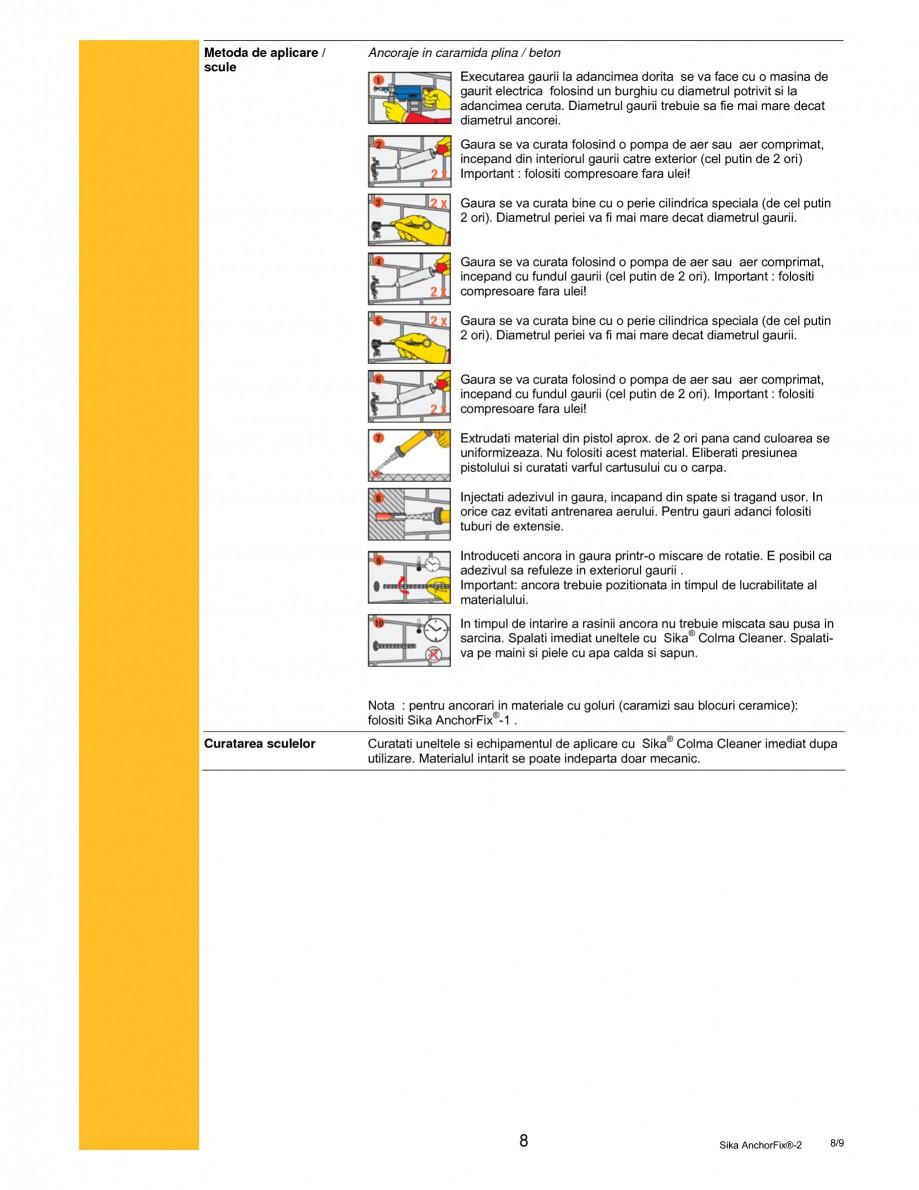 Pagina 8 - Adeziv de inalta performanta pentru ancorari SIKA Sika AnchorFix®-2 Fisa tehnica...