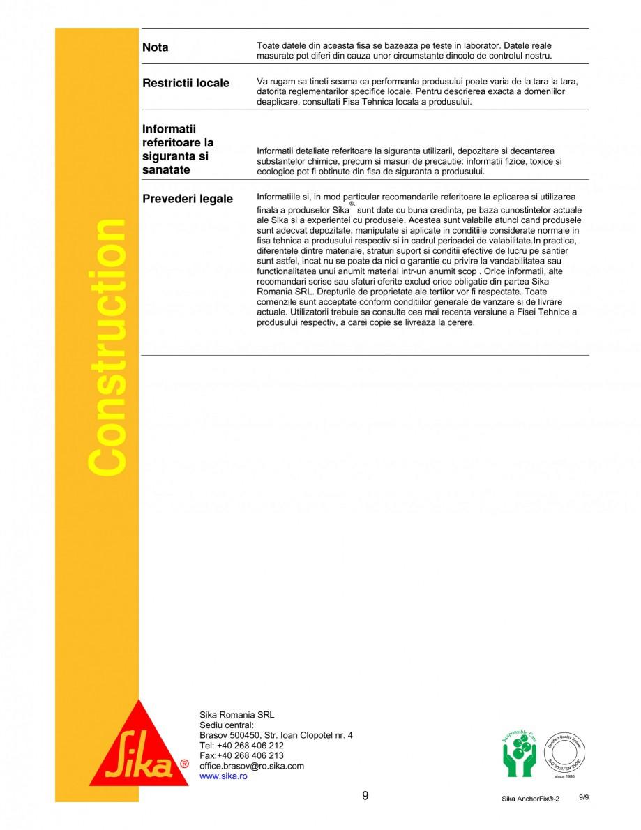Pagina 9 - Adeziv de inalta performanta pentru ancorari SIKA Sika AnchorFix®-2 Fisa tehnica...