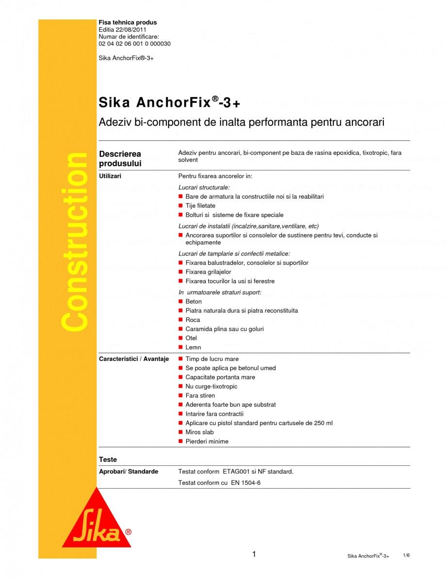 Pagina 1 - Adeziv bi-component pentru ancorari SIKA Sika AnchorFix®-3+ Fisa tehnica Romana Fisa ...