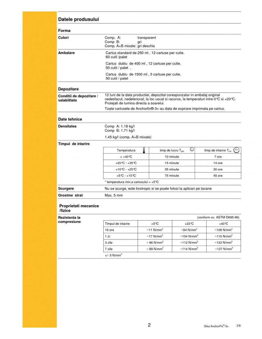 Pagina 2 - Adeziv bi-component pentru ancorari SIKA Sika AnchorFix®-3+ Fisa tehnica Romana are...