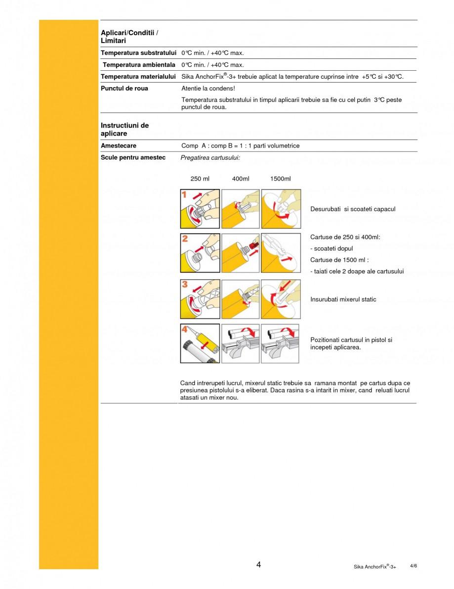 Pagina 4 - Adeziv bi-component pentru ancorari SIKA Sika AnchorFix®-3+ Fisa tehnica Romana ...
