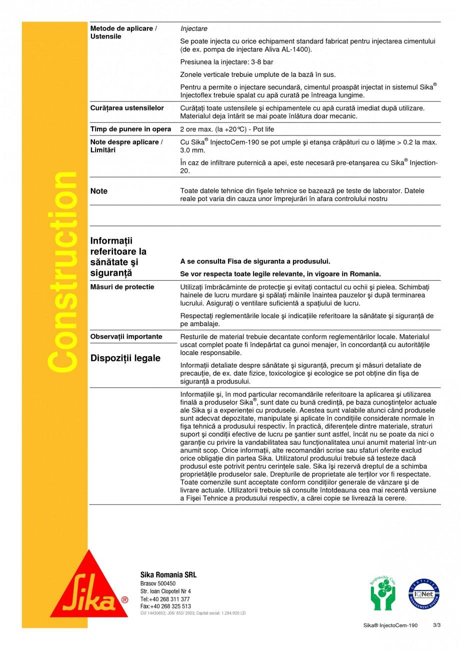 Pagina 3 - Produs de injectare pe baza de microciment SIKA Sika® InjectoCem-190 Fisa tehnica...