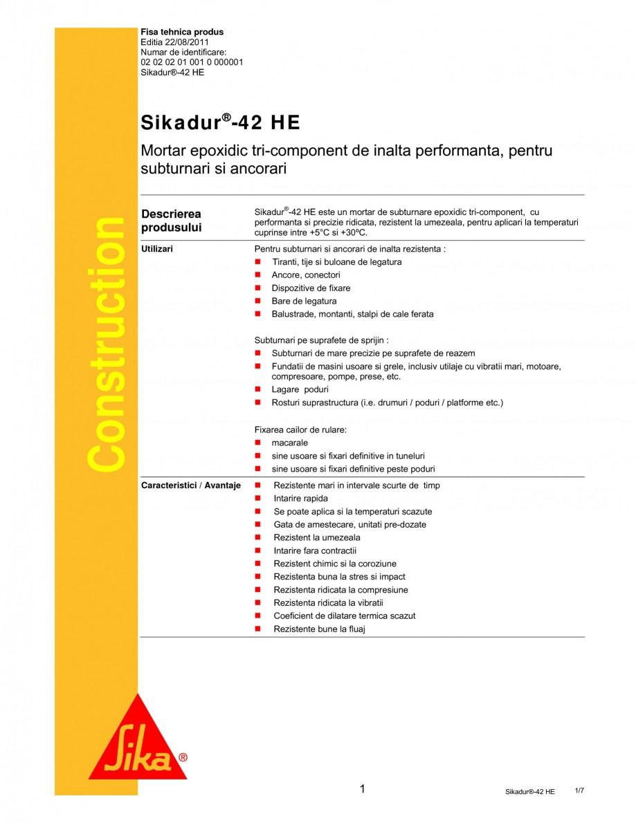 Pagina 1 - Mortar epoxidic tri-component pentru subturnari si ancorari SIKA Sikadur®- 42 HE Fisa...