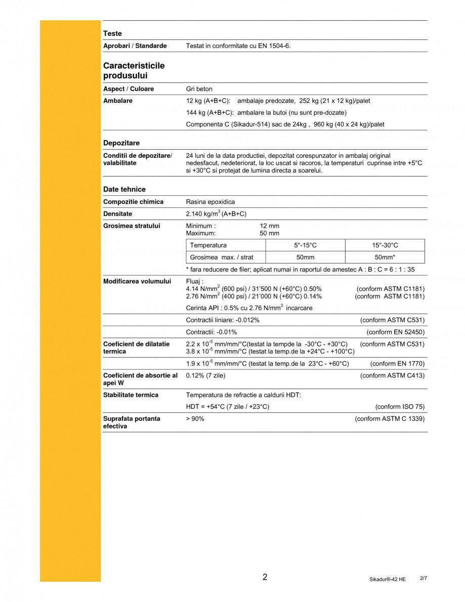 Pagina 2 - Mortar epoxidic tri-component pentru subturnari si ancorari SIKA Sikadur®- 42 HE Fisa...