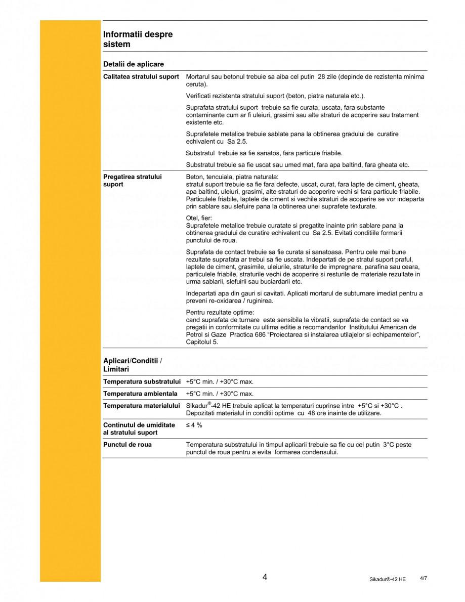 Pagina 4 - Mortar epoxidic tri-component pentru subturnari si ancorari SIKA Sikadur®- 42 HE Fisa...