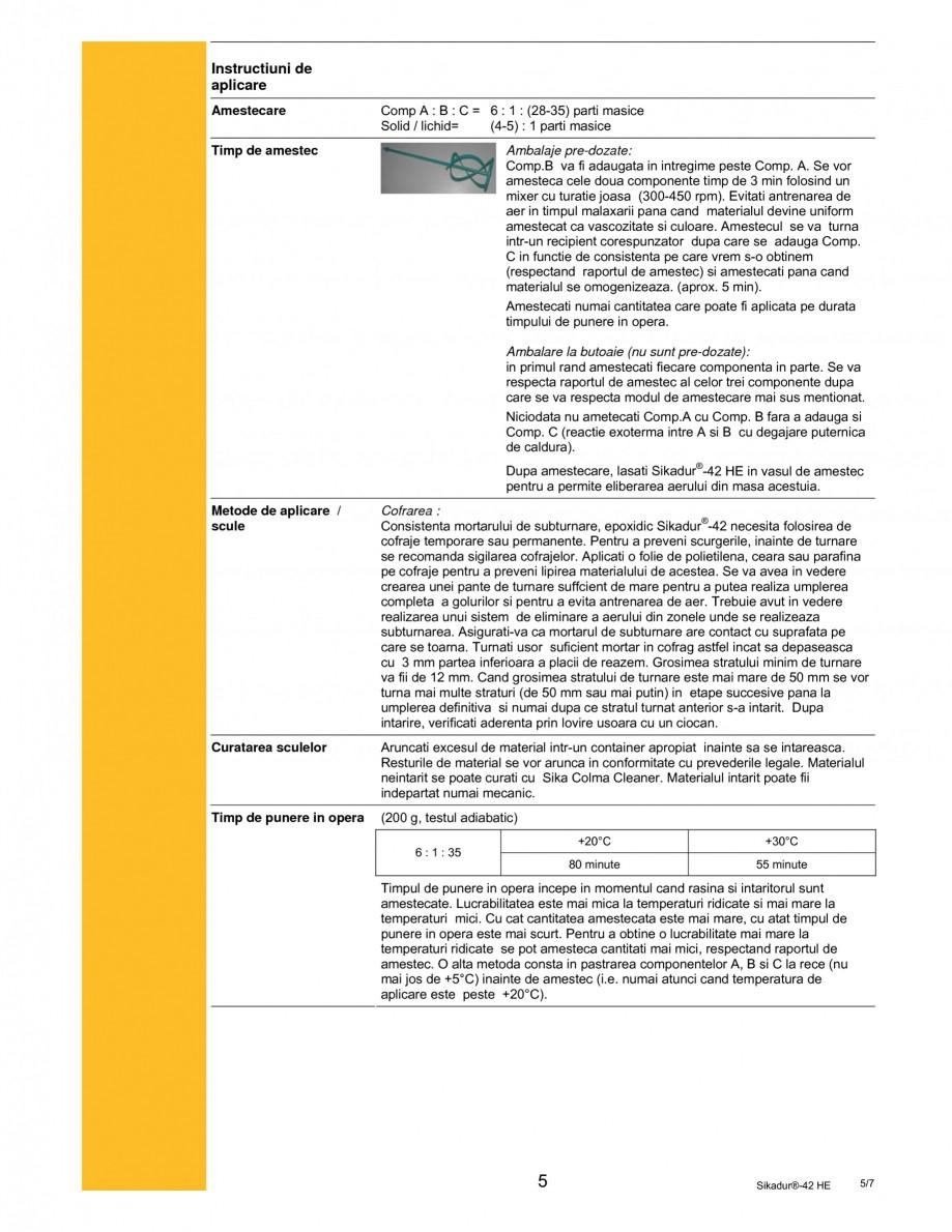 Pagina 5 - Mortar epoxidic tri-component pentru subturnari si ancorari SIKA Sikadur®- 42 HE Fisa...