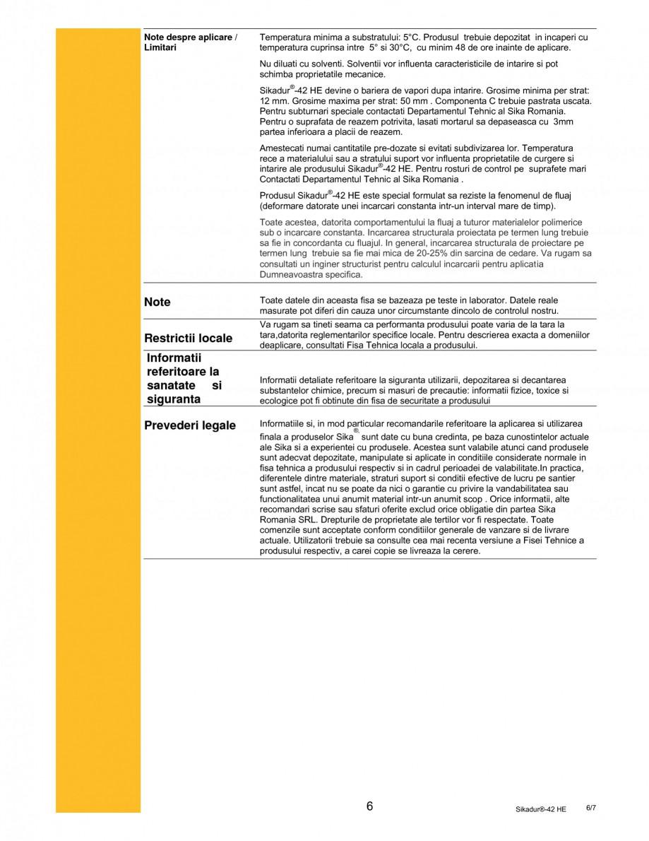 Pagina 6 - Mortar epoxidic tri-component pentru subturnari si ancorari SIKA Sikadur®- 42 HE Fisa...