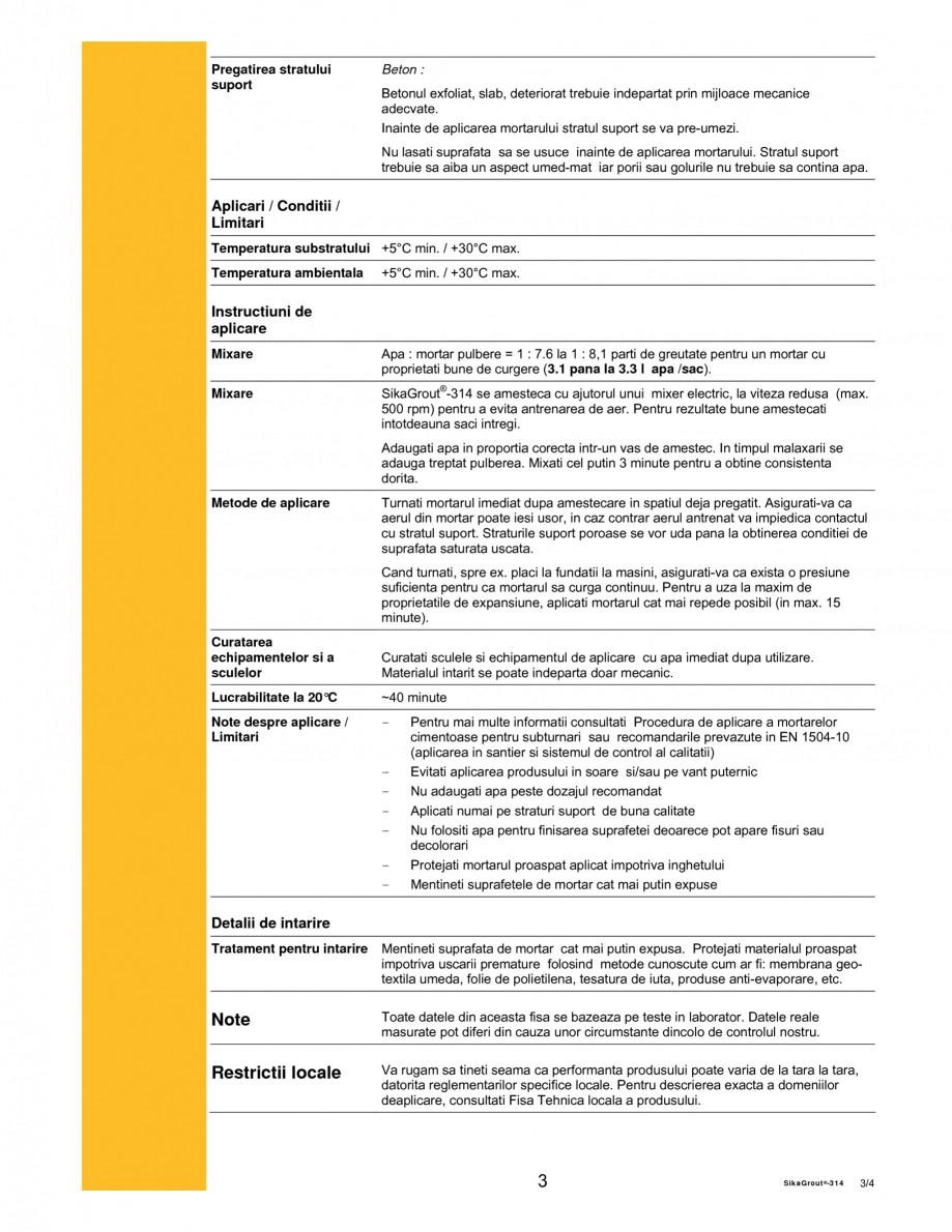 Pagina 3 - Mortar expandabil de inalta performanta cu contractii reduse SIKA SikaGrout®-314 Fisa...