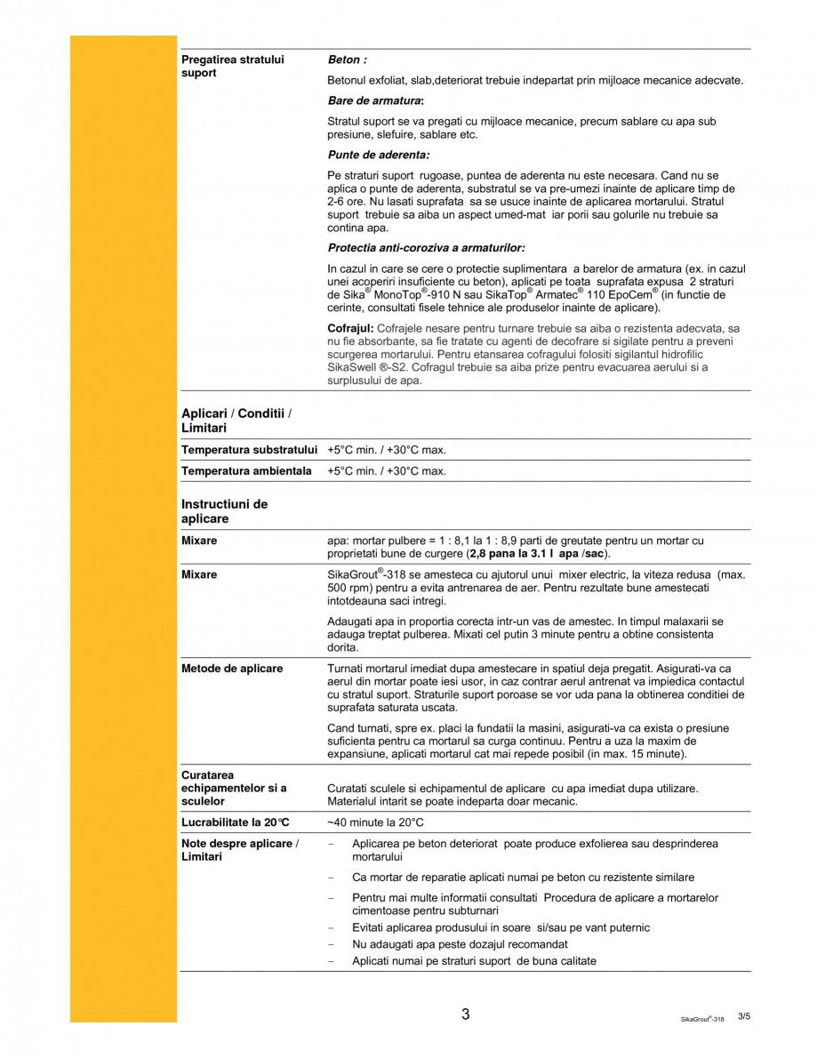Pagina 3 - Mortar expandabil de inalta performanta cu contractii reduse SIKA SikaGrout®-318 Fisa...