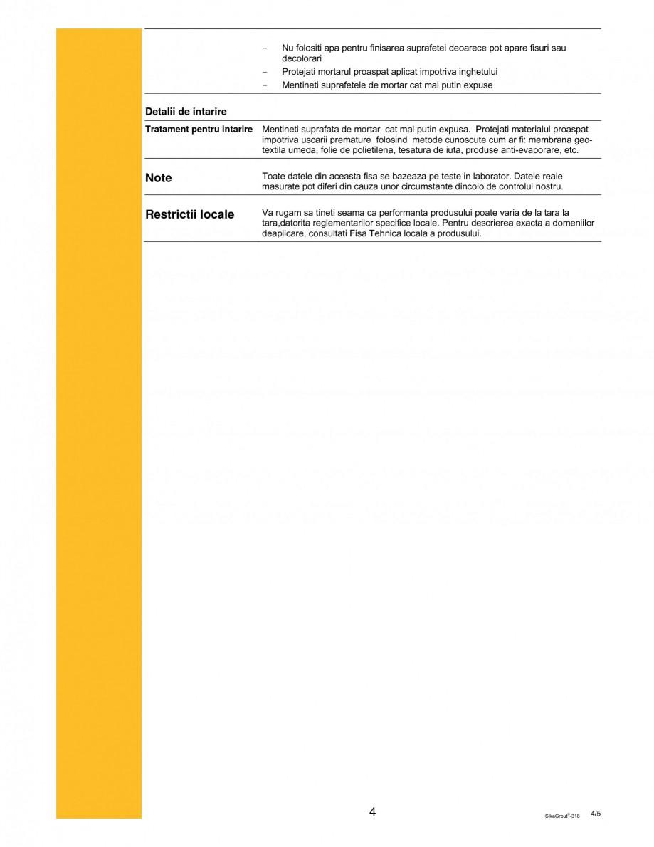 Pagina 4 - Mortar expandabil de inalta performanta cu contractii reduse SIKA SikaGrout®-318 Fisa...
