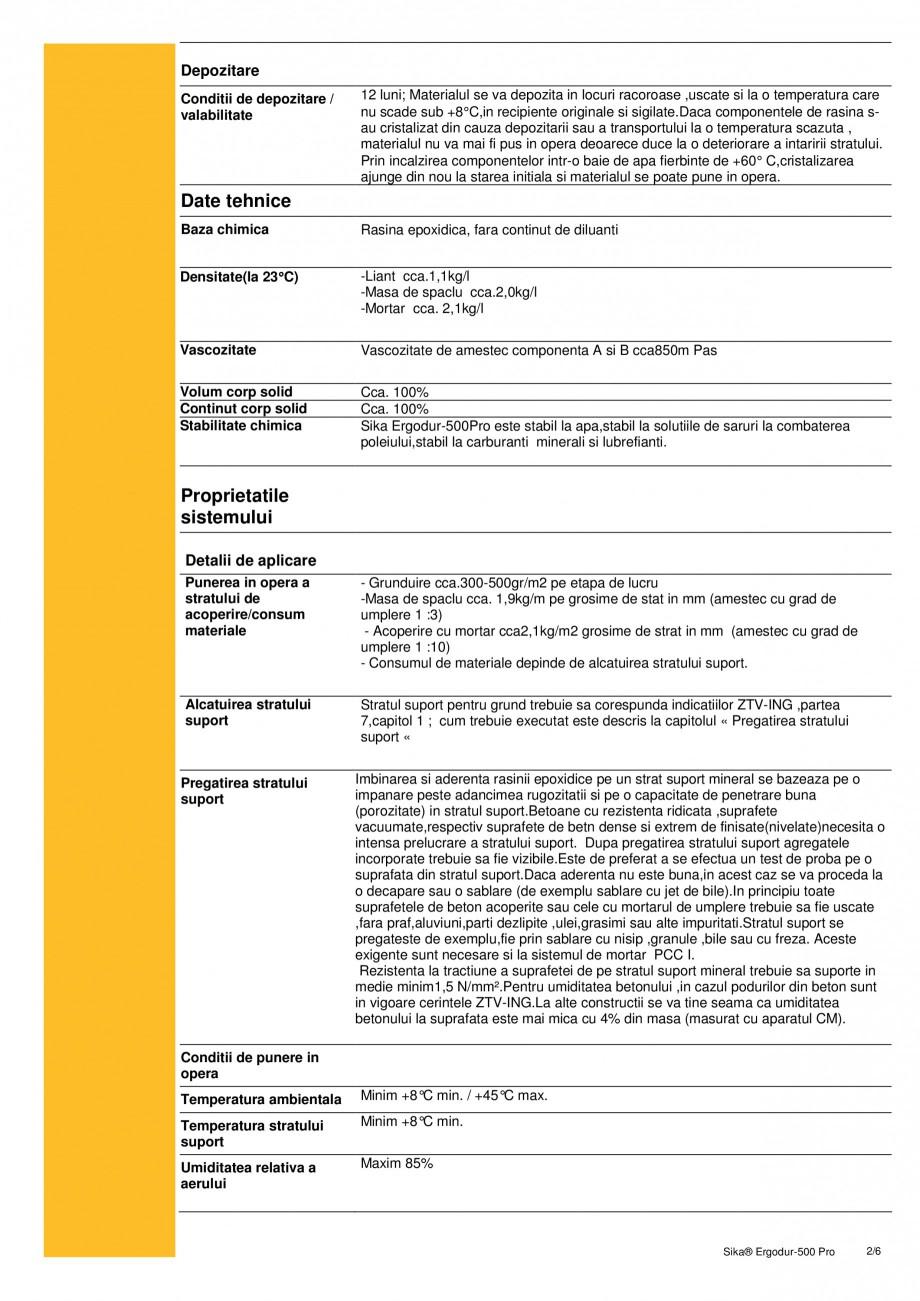 Pagina 2 - Amorsa epoxidica pentru sisteme de hidroizolatii poduri SIKA Sika® ErgoDur 500 PRO...