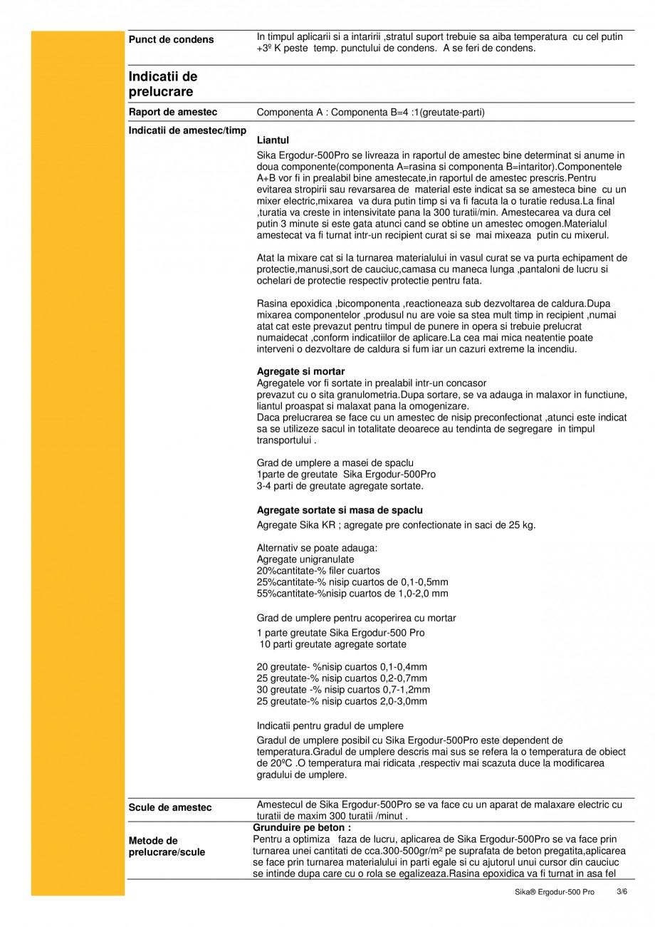 Pagina 3 - Amorsa epoxidica pentru sisteme de hidroizolatii poduri SIKA Sika® ErgoDur 500 PRO...