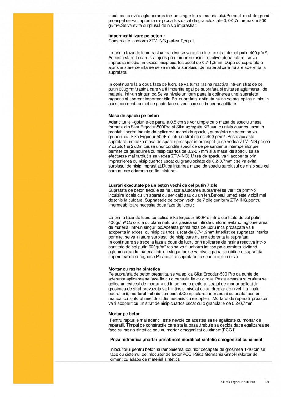 Pagina 4 - Amorsa epoxidica pentru sisteme de hidroizolatii poduri SIKA Sika® ErgoDur 500 PRO...