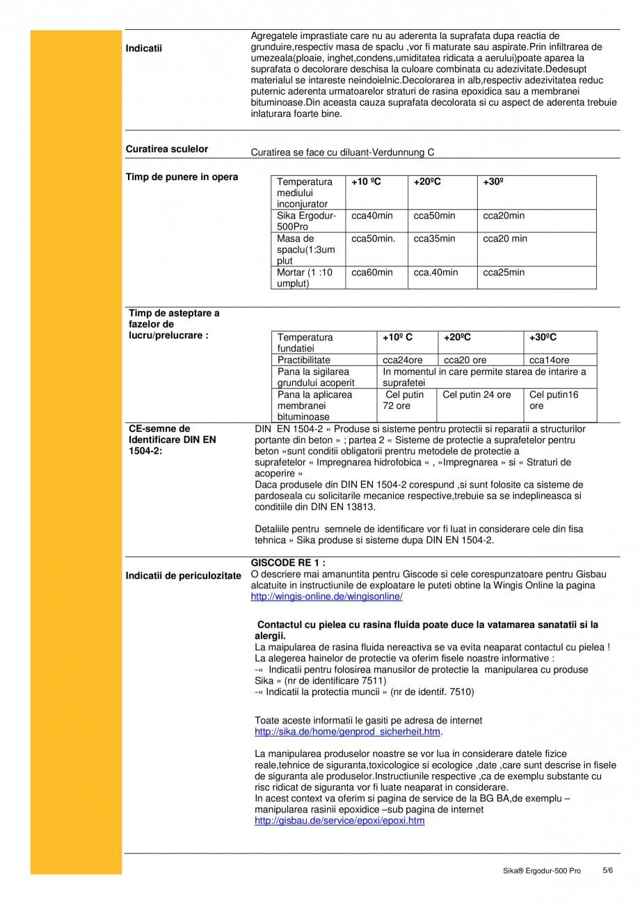 Pagina 5 - Amorsa epoxidica pentru sisteme de hidroizolatii poduri SIKA Sika® ErgoDur 500 PRO...