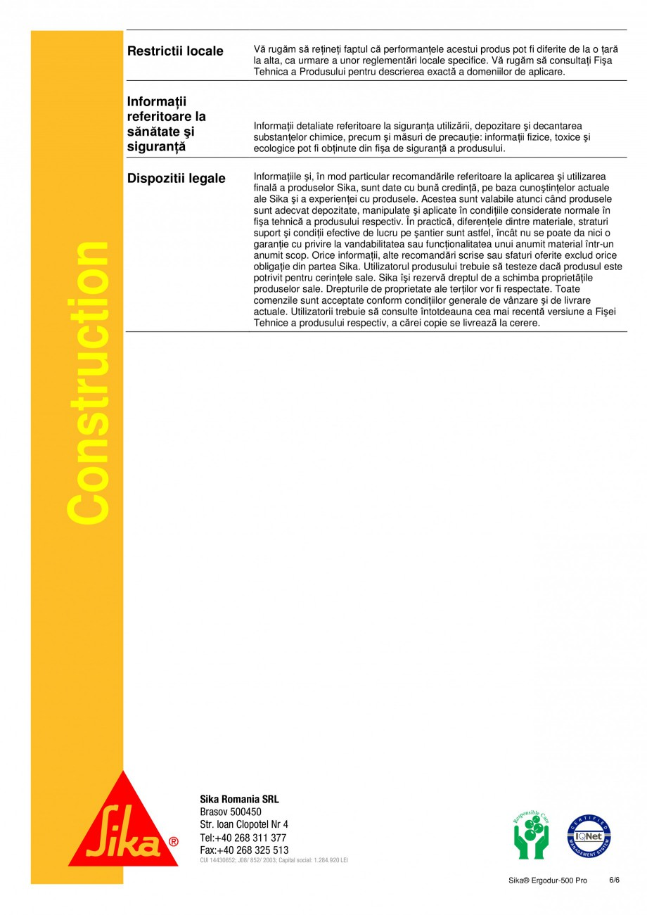 Pagina 6 - Amorsa epoxidica pentru sisteme de hidroizolatii poduri SIKA Sika® ErgoDur 500 PRO...