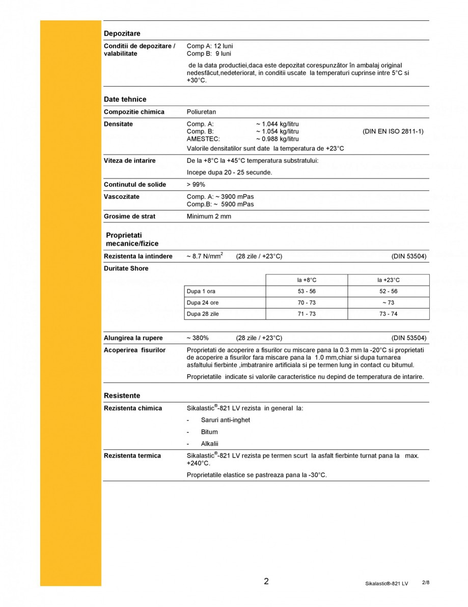 Pagina 2 - Membrana hidroizolanta cu aplicare prin pulverizare SIKA Sikalastic®-821 LV Fisa...