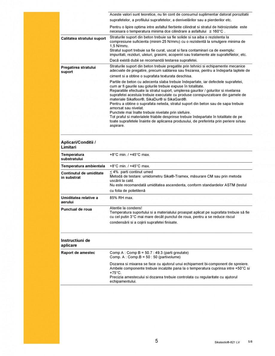 Pagina 5 - Membrana hidroizolanta cu aplicare prin pulverizare SIKA Sikalastic®-821 LV Fisa...