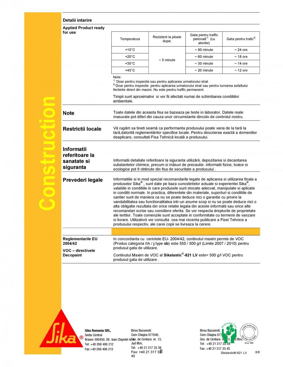 Pagina 8 - Membrana hidroizolanta cu aplicare prin pulverizare SIKA Sikalastic®-821 LV Fisa...
