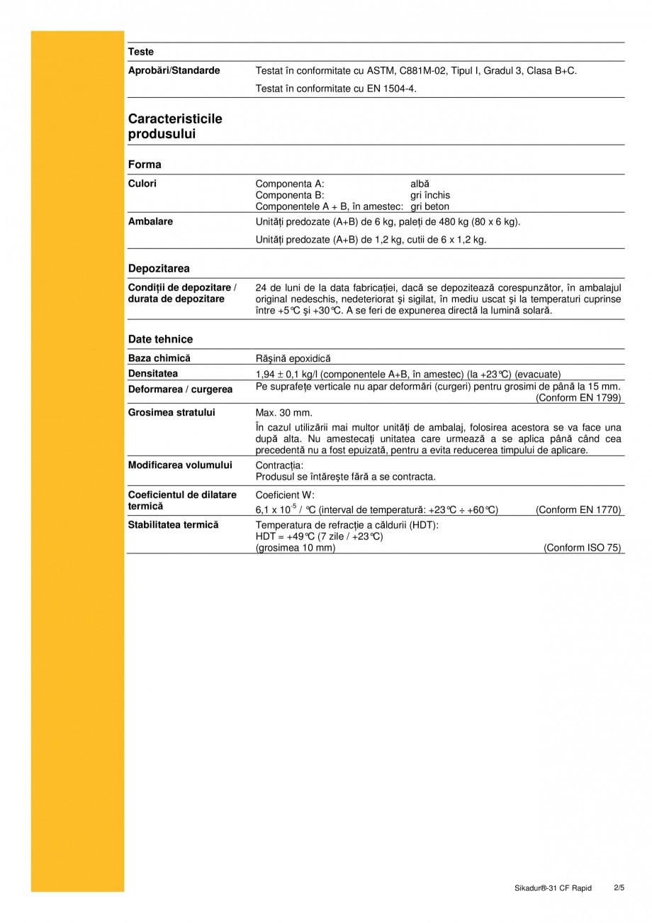 Pagina 2 - Adeziv si mortar de reparatie bi-component, tixotropic SIKA Sikadur®-31 CF Rapid Fisa...