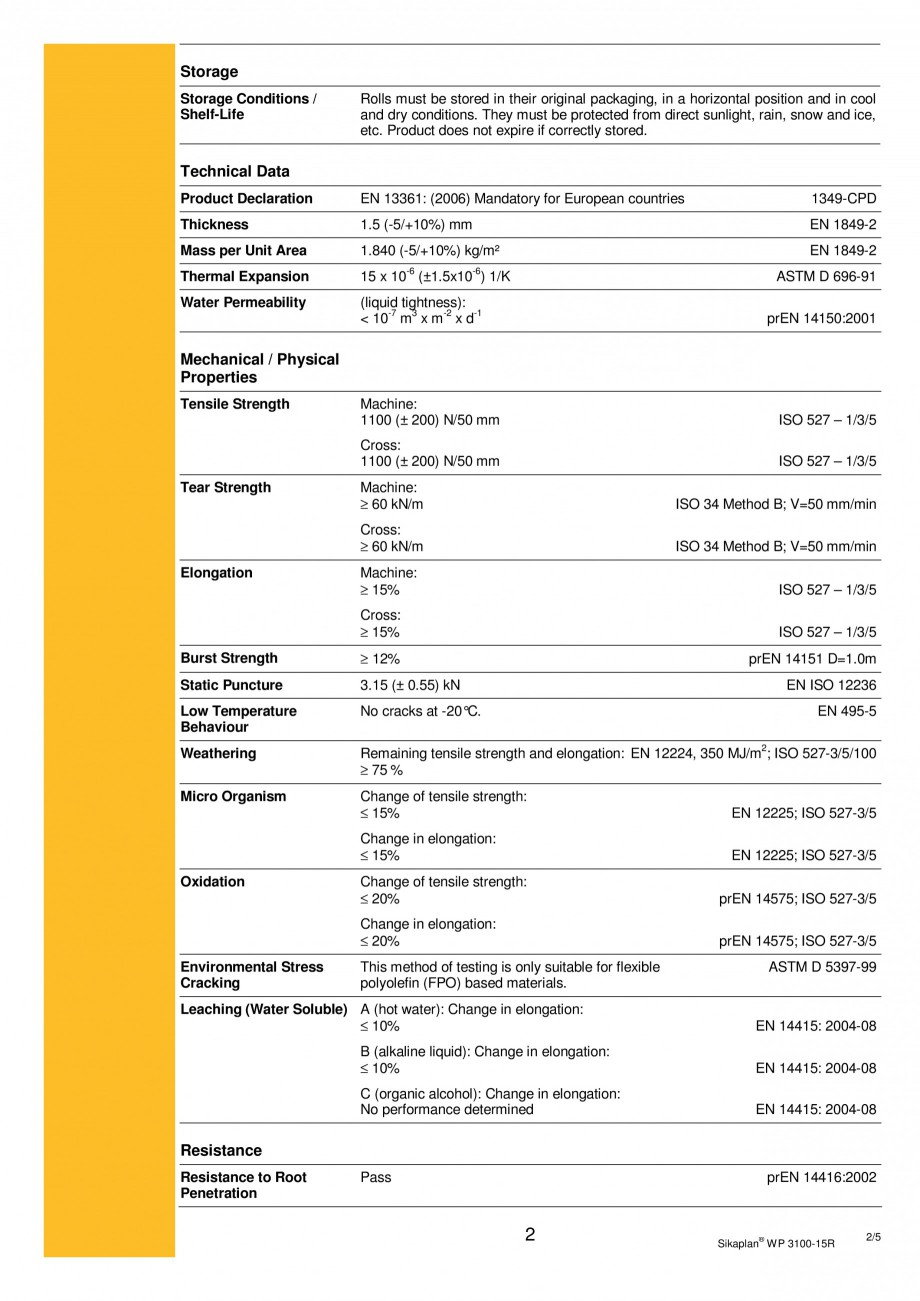 Pagina 2 - Membrana de hidroizolatie pentru bazine si iazuri  SIKA Sikaplan® WP 3100 - 15R Fisa ...