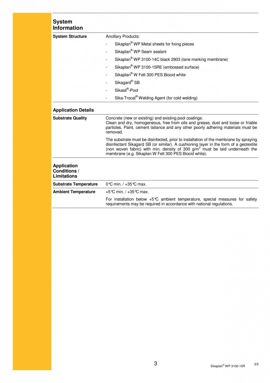 Pagina 3 - Membrana de hidroizolatie pentru bazine si iazuri  SIKA Sikaplan® WP 3100 - 15R Fisa ...