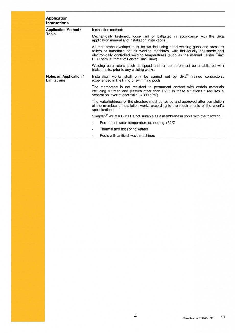 Pagina 4 - Membrana de hidroizolatie pentru bazine si iazuri  SIKA Sikaplan® WP 3100 - 15R Fisa ...