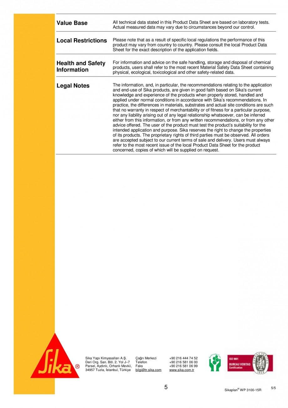 Pagina 5 - Membrana de hidroizolatie pentru bazine si iazuri  SIKA Sikaplan® WP 3100 - 15R Fisa ...