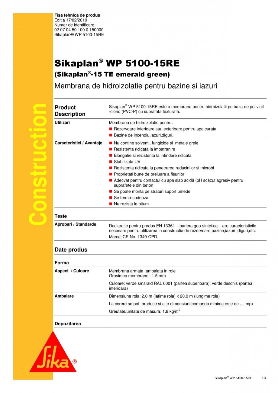 Pagina 1 - Membrana de hidroizolatie pentru bazine si iazuri  SIKA Sikaplan® WP 5100 - 15RE Fisa...