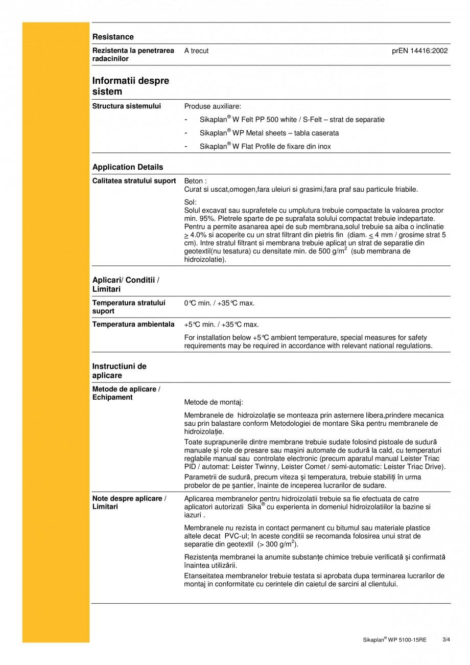 Pagina 3 - Membrana de hidroizolatie pentru bazine si iazuri  SIKA Sikaplan® WP 5100 - 15RE Fisa...