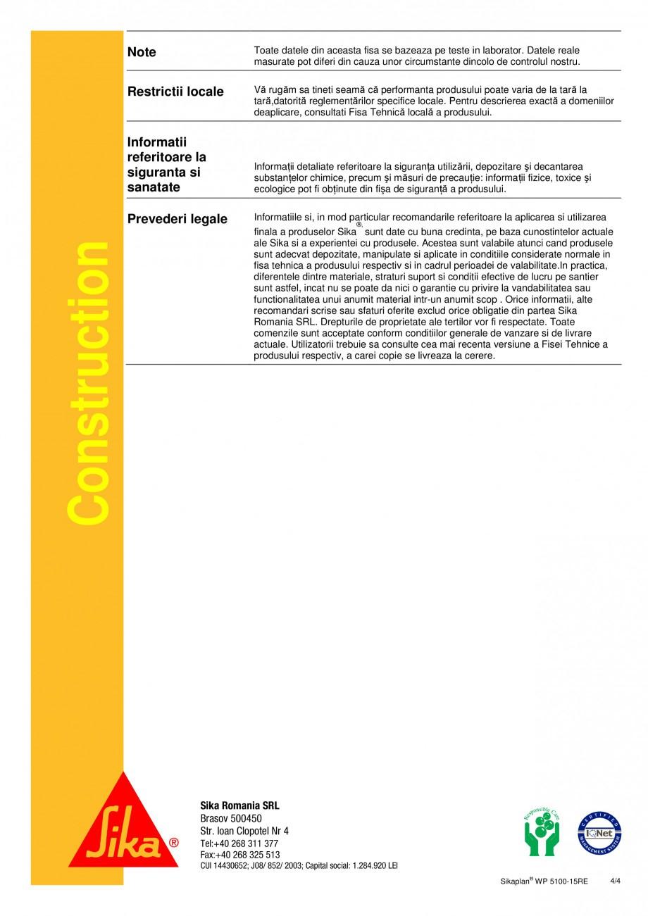 Pagina 4 - Membrana de hidroizolatie pentru bazine si iazuri  SIKA Sikaplan® WP 5100 - 15RE Fisa...