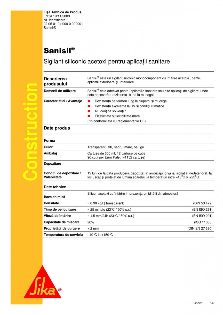 Pagina 1 - Sigilant siliconic acetoxi pentru aplicatii sanitare SIKA Sika® Sanisil Fisa tehnica ...