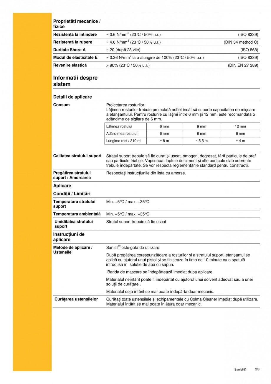 Pagina 2 - Sigilant siliconic acetoxi pentru aplicatii sanitare SIKA Sika® Sanisil Fisa tehnica ...