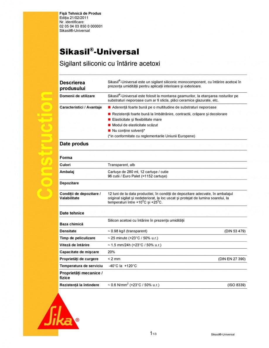 Pagina 1 - Sigilant siliconic cu intarire acetoxi SIKA Sikasil®-Universal Fisa tehnica Romana...